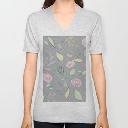 Simple and stylized flowers 7 Unisex V-Neck