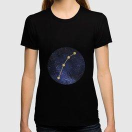 Golden Aries Zodiac Sign Constellation Galaxy Art T-shirt