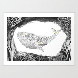 whale with aquatic plants illustration Art Print
