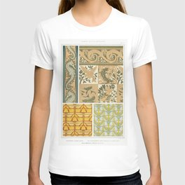 Hippocampes et algues bordure Les quatre elements carreaux ceramiques et lezards bordure Iris et lib T-shirt
