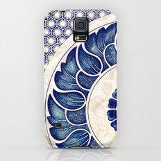 Blue Oriental Vintage Tile 05 Galaxy S5 Slim Case
