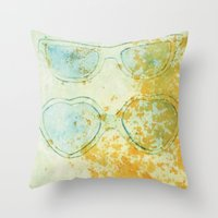 sunglasses Throw Pillows featuring Sunglasses by Leah Gonzales