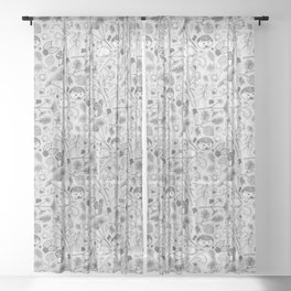 Winter Woodland Creatures in Black & White Sheer Curtain