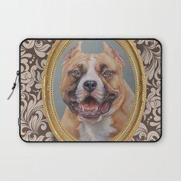 Old Gentleman. Amstaff Dog portrait in gold frame Laptop Sleeve