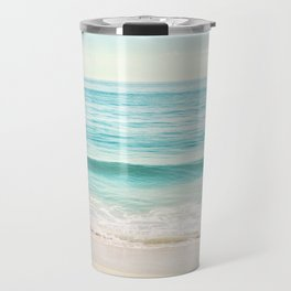 Ocean Seascape Photography, Aqua Beach Sea Landscape, Turquoise Teal Coastal Waves Travel Mug