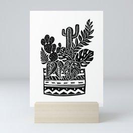 Botanical Pot Block Print Mini Art Print