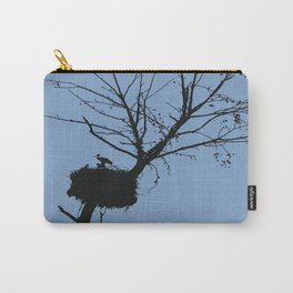 Silhouette Of Stalk Nest and Fledglings Vector Carry-All Pouch