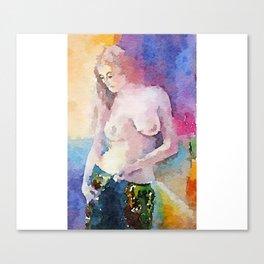 Colorful Attire, Nude Woman Canvas Print