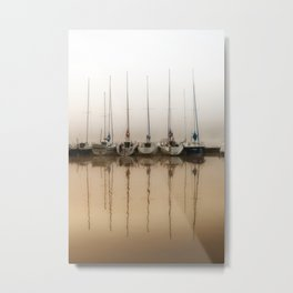 Boats moored in fog Metal Print