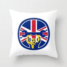 British Mechanic Union Jack Flag Icon Throw Pillow