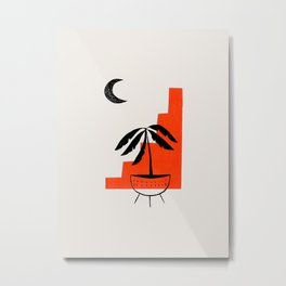 Mid Century Modern Minimalist Modern Ancient Ruins Potted Plant Moon Orange Paper Collage by Ejaaz Haniff Metal Print