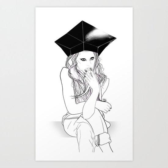 Sitting and Staring - Digital Illustration Art Print
