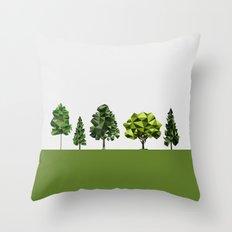 Poly geometric trees Throw Pillow
