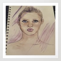 kate moss Art Prints featuring Kate Moss by Jade Lenehan