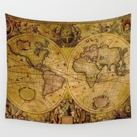 vintage map Wall Tapestries featuring VintaGe Map by ''CVogiatzi.