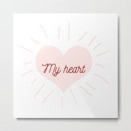 shining heart in pink Metal Print