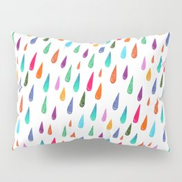 Modern rainbow colors watercolor rain drops pattern Pillow Sham