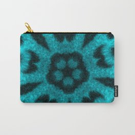 Teal Leopard Flower Kaleidoscope Carry-All Pouch
