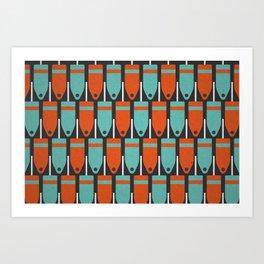 Buoys, Orange & Blue Art Print