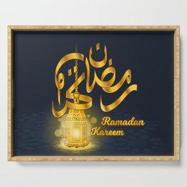 Ramadan Kareem in Golden Arabic Calligraphy with Luminous Lantern On The Geometry Floor Serving Tray