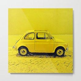 A classic, vintage 500 Italian car in sunshine yellow Metal Print