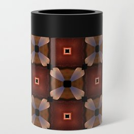 Red Square and White Circle Pattern Can Cooler