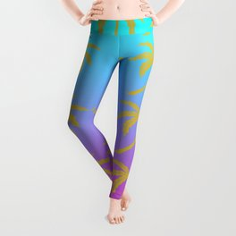 Fuschia and Turquoise Ombre Palm Tree Leggings