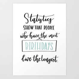 Statistics birthday card (pale teal) Art Print