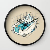 bath Wall Clocks featuring BATH TIME by Letter_q