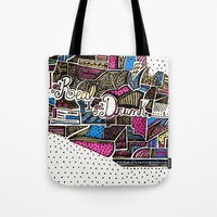 drunk Tote Bags featuring drunk by Mariana Beldi