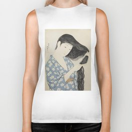 Hashiguchi Goyo: Woman Combing Her Hair Japanese Woodblock Print Blue Floral Kimono Black Hair Biker Tank