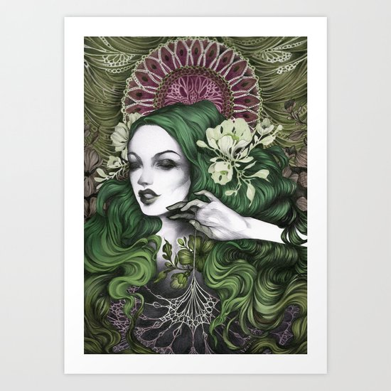 In Her Web (Green and Pink) Art Print
