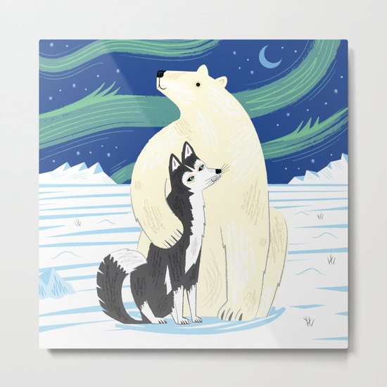 The Polar Bear and The Husky Metal Print
