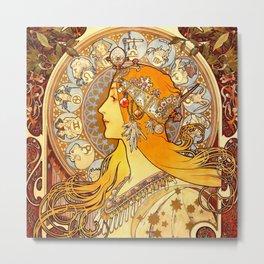 "Alphonse Mucha ""Zodiac"" Metal Print"