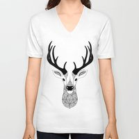 deer V-neck T-shirts featuring Deer by Art & Be