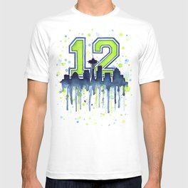 Seattle 12th Man Fan Art Seattle Space Needle T-shirt