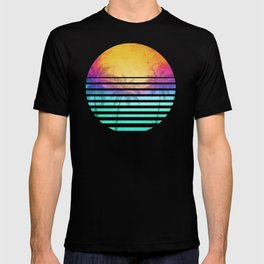 Vintage Retro 80's Synthwave Sunset Palms T-shirt
