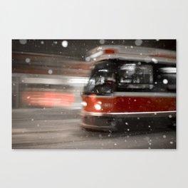 Snowy Night on Gerrard Street East, Toronto Canvas Print
