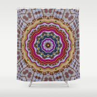 woodstock Shower Curtains featuring Woodstock Pattern kinda by Pepita Selles