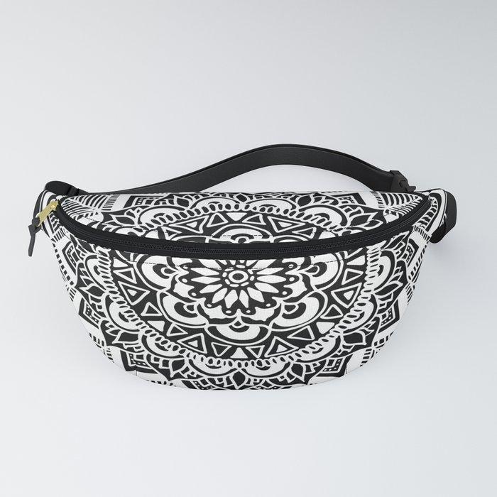 Black and White Boho Mandala Fanny Pack
