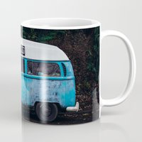 vw bus Mugs featuring Vintage VW Bus Rusted  by Limitless Design