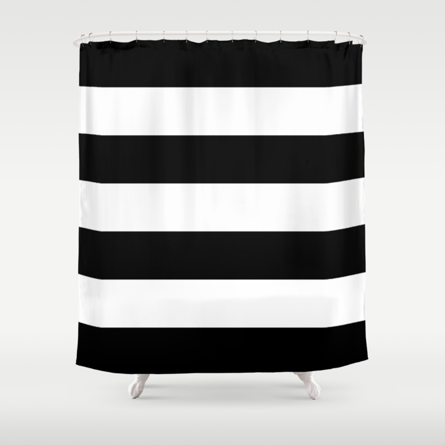 Black And White Large Stripes Shower Curtain