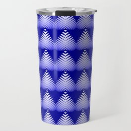 Pattern of white hearts and blue flowers on the sea background. Travel Mug