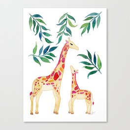 Watercolor Giraffe Mother and Child Canvas Print