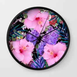 BLACK VINTAGE PINK FLOWERS BLUE  PALMS ART Wall Clock