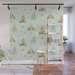 Critters Creating Christmas Trees Wall Mural