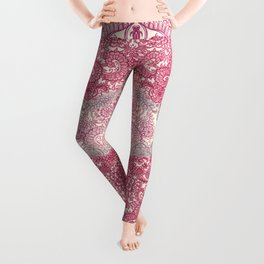 Happy Place Doodle in Berry Pink, Cream & Mauve Leggings
