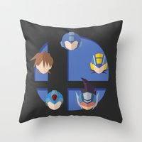 smash bros Throw Pillows featuring Megaman Smash Bros. by CmOrigins