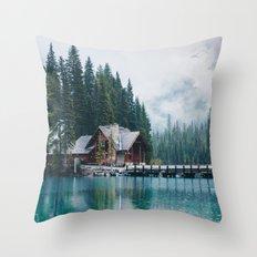 Emerald Lake Lodge Throw Pillow