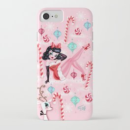 Christmas Pinup Girl with Reindeer iPhone Case